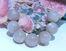 7 AAA NATURAL SMOOTH ROUND CAT'S EYE MOON GRAY MOONSTONE BEADS 10mm