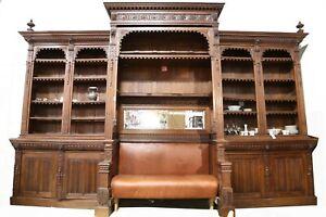 Antique Bookcase / Bench, Monumental, Renaissance Revival Oak, 1800's, Amazing!