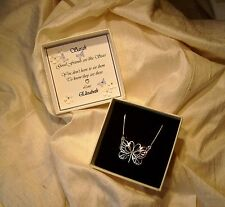 Gift for a friend Jewellery Sterling silver butterfly pendant Personalized box