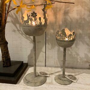 Antique White Metal Easter Candle Stick Holder Rabbit Bird Tea Light Decoration