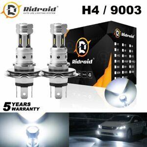 Pair Plug & Play H4 9003 LED Headlight Hi/Low Beam 6000K Bulb For Motorcycle