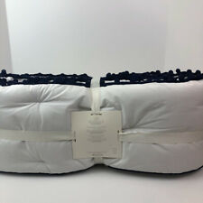 Pottery Barn Kids White Navy Blue Pom Pom Bedding Crib Bumper New