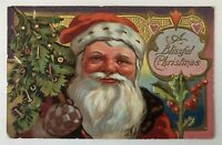 Santa Claus with Tree & Holly~ Antique Embossed~Christmas Postcard-s633