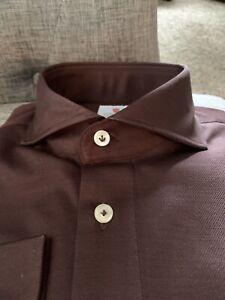 Cordone 1956 Polo Dress Shirt Hand Made 3 Button ( Long Sleeve Spread Collar !