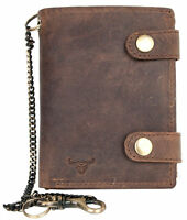 Genuine leather biker's wallet with a bull head with 35 cm (14 in) long chain
