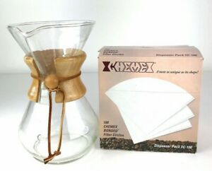 """Vintage Chemex 9 1/2"""" Pour Over Coffee Maker Wood Wrap Leather Tie +60 Filters"""