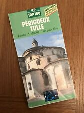 IGN FRANCE 2000 COLORED CONTOURED PAPER MAP of Perigueux Tulle no. 48