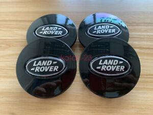 4 LAND ROVER Range Rover Supercharged Center Caps BLACK GLOSS Wheel Hub Caps