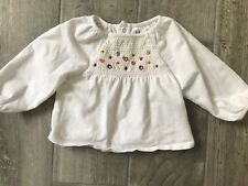 Baby Gap Girls Size 3-6 months Smocked Dress Shirt White Blouse Soft