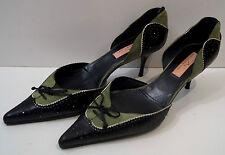 Alexander Neel Negro y Verde Cuero Zapatos Stiletto Tribunal En Punta 38.5 UK5.5