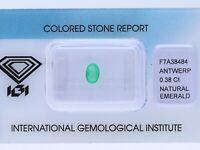 natürlicher 0,38 Karat Smaragd Oval green IGI Expertise
