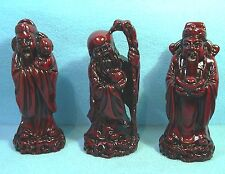 A set of 3 CHINESE GOD Figurines Shou . Luk  & Fuk .  Rosewood Colour Resin