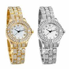 Women Ladies Roman Numerals Luxury Bling Rhinestone Analog Quartz Wrist Watch