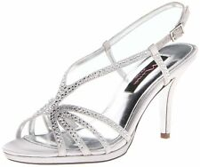 Nina Women's Bobbie JS Dress Sandal Silver Satin 6.5 B(M) US