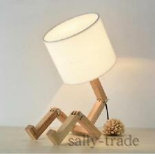 European Style Table Lamp Wooden Bedside with Fabric Lampshade  Desk Light
