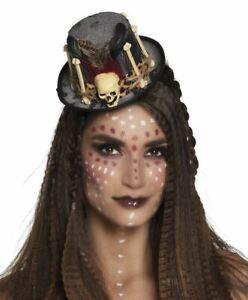 Womens Black Magic Voodoo Hat on Headband Halloween Fancy Dress Accessory