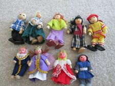 Wooden dollhouse figures princess prince queen king firefighter grandma grandpa