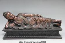 Chinese Buddhism Pure Red Copper Bronze Sleeping Rest Shakyamuni Buddha Statue