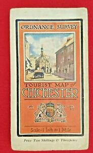 """CHICHESTER ORDNANCE SURVEY TOURIST 1 """" TO 1 MILE PAPER MAP 1922"""