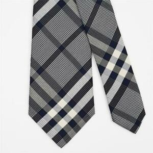 BURBERRY TIE Plaid Check in Dark Blue Skinny Woven Silk Necktie