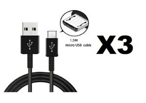 3 X Rapid Charge Micro USB Charging Data Cable For Samsung,LG,HTC Android Phones