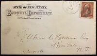 1884 *STATE OF NEW JERSEY* (OFFICIAL BUSINESS) COVER+SCOTT# 210 STAMP!  NOTABLE!