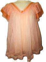 Vintage RoVel California Double Sheer Chiffon BABYDOLL Nightgown Short Nightie S