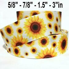 "Grosgrain Ribbon 5/8"", 7/8"", 1.5"", 3"" Sunflowers - Summer - Spring D2E Printed"