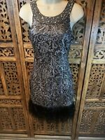 Lipsy Black and silver Cocktail Dress Feather Hem Size 6 B4