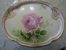 """Antique LIMOGES Porcelain 10 3/4"""" Oval Tray PINK ROSE Border GILT Trim * CORONET"""
