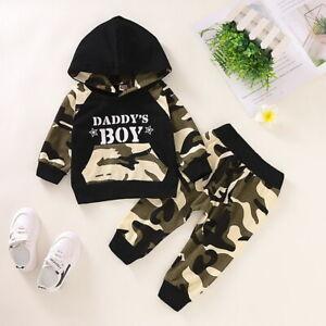 Camo Pants Autumn Clothes Sets US Kids Baby Boy Hoodie Outfits Sets Sweatshirt
