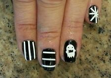 Halloween Nail Art Decal Sticker-Cute Ghosts & Stripes-Choose Color! Buy 3/1 Fre