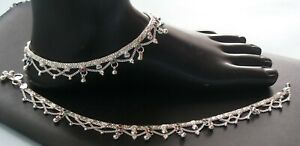 HANDMADE PURE SILVER ANKLET PAIR INDIAN PAYAL 46.6 GRAM 10''  FREE SHIPPING ANK6