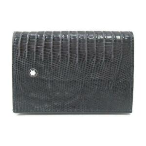 MONT BLANC card case 118721 Embossed leather Black Used