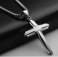 Luxus Anhänger Kreuz mit Halskette 50cm Edelstahl Kette Kirche für Damen Herren