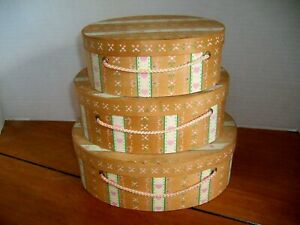 VINTAGE SET Of 3 SMALL OVAL SHAKER LIKE WOODEN DECORATED NESTING BOXES w/CORDS