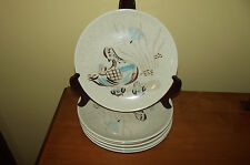 Lot of 6 Vintage Red Wing Pottery Bob White Quail Dinner Plates