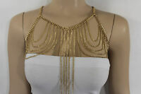 WOMEN GOLD MULTI CHAINS METAL BODY JEWELRY LONG NECKLACE HARNESS TOP BIKINI SEXY