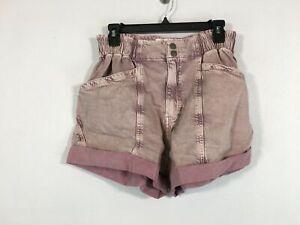 Women's Free People Kaua'i Nights High Rise Elastic Waist Shorts -Size M- Pink
