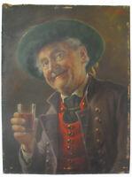 Otto Kirchner 1887-1960 Münchner Schule Portrait Ölgemälde Weintrinker in Tracht