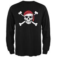Jolly Roger Black Adult Mens Long Sleeve T-Shirt Top