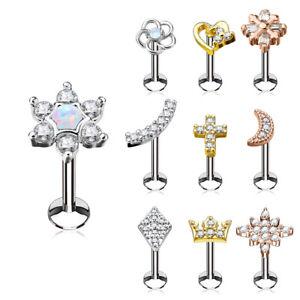 Tragus Piercing Labret Ear Plug Helix Cartilage Jewelry Crystal Stud
