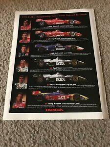 1998 INDY CAR Poster Print Ad TONY KANAAN PAUL TRACY DARIO FRANCHITTI  ZANARDI