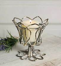 Set of 4 Distressed Tulip Votive Candle Holders w/ Glass Metal Wire Primitive