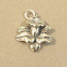 .925 Sterling Silver 3-DAFFODIL CHARM NEW Flower Calla Lily Pendant 925 GA74
