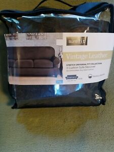 Sure Fit faux Suede Slate gray Sofa Slipcover 3 cushion style open box
