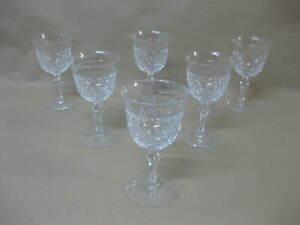 Set of 6 Vintage Crystal / Cut Glass Wine Glasses / Port Glasses