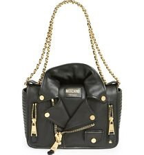 Moschino (Jeremy Scott) Large Motorcycle Jacket Bag in Black Leather