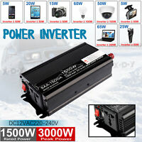 Convertisseur pur sinus 12V 230V/1500W 3000W Onduleur dc to ac Transformateur FR