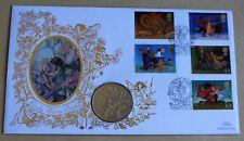 """Magical Worlds 1998 Benham FDC + 1998 Fleur Fées """"Sweet Pea"""" Isle Man coin"""